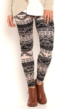 Deb Shops Paisley Lace Stripe Print Leggings $12.00