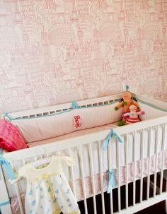 Love this global printed #pink #wallpaper!  #nursery #globaltheme