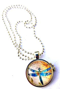 Cream, blue and brown Dragonfly Art Photo Pendant