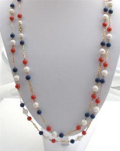 Red White Blue Lucite Bead Multi 2 Strand Estate Gold Tone Necklace Vintage   eBay