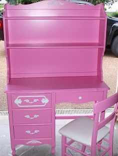 A fresh coat of pink paint can transform any piece of old furniture into something magical!