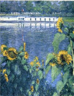 Caillebotte  - Sunflowers on the banks of the Seine