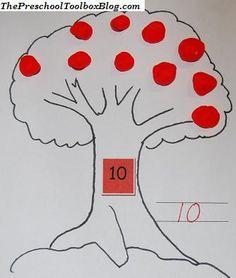 number activities kindergarten, number crafts preschool, play dough mats, preschool toolbox, apple orchard