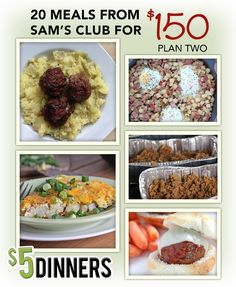 20 Meals from Sam's Club for $150 ~ Meal Plan #2 with Printables