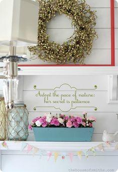Spring Shelf Decorating - The House of Smiths #springdecor #decorating #springvingette