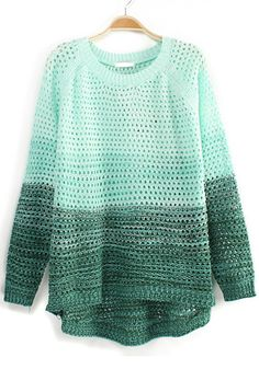 Green Color Block Print Hollow-out Wool Blend Pullover