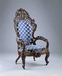 Armchair  Date: 1850–60 Geography: Mid-Atlantic, New York City, New York, United States Culture: American Medium: Rosewood, ash