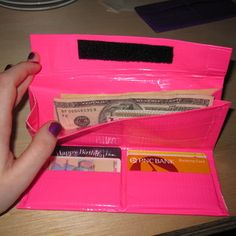 Girly duct tape wallet/clutch...i want to make like   ten of them. It also has the secret to clean off the tape gunk!!!