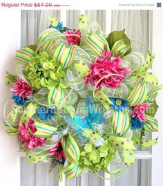 Deco Mesh Door Wreath for summer