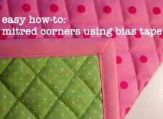 Great tutorial- may come in handy since I recently found a lifetime supply of bias tape in my mom's sewing stuff. sewing bias tape on a quilt, mitr corner, tutorials, craft, corner tutori, sewing blogs, tapes, miter corner, bias tape corners