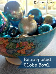 frugal living, repurpos globe, globes, map, diy projects, christma, globe idea, globe bowl, bowls
