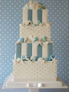 polka dot & stripes square beach wedding cake