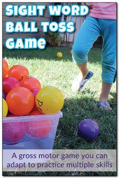 Sight word ball toss game
