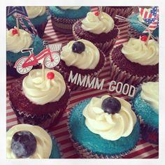 Red (Velvet), White, and Blue (Velvet) cupcakes w/ homemade cream cheese frosting for the 4th of July!