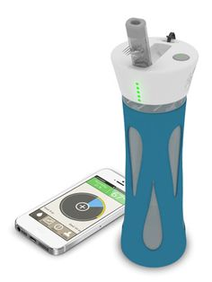 It sends messages to your phone, reminds you when to drink, and keeps a record of your hydration levels. Yes I need this lol.....