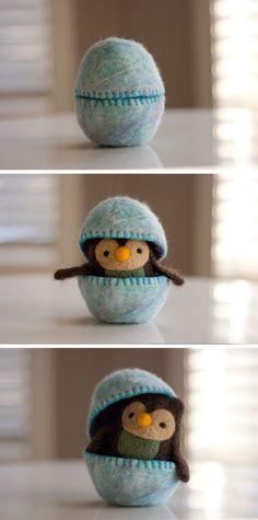 Make a felted Easter egg chick!