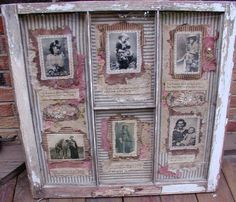 Collages in a Vintage Chippy Window Frame