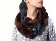 Brown Mink Fur and Gray Wool Scarf/Cowl by Mclovebuddy on Etsy,