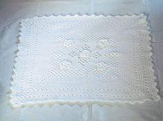 sweet dreams baby blanket - white crochet blanket throw..... GORGEOUS......Kerry