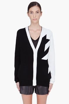 3.1 Phillip Lim Contrast Houndstooth Cardigan