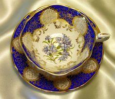 Paragon Cabinet Quatrefoil Tea Cup & Saucer ~ Blue Rococo & Cornflowers