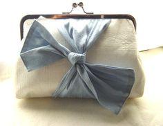 Samantha - white dupioni silk clutch with a blue bow tie -$70.00