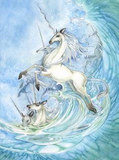 "From Dreamscapes - Myth & Magic:   The concept of magical equines being birthed from the sea is a powerful image that has found itself repeated in many myths. Greek Poseidon was the creator of horse. Mighty white-maned creatures surging up from the ocean's floor in bursts of sea foam and crashing waves. The Celtic goddess Epona was also said to have been born from sea foam, taking the form of a white mare when she stepped to land. And then there are the narwhals, the ""Unicorns of the Sea"" for their long spiral tusks like a unicorn's horn that for centuries were traded and sold as being the genuine article."