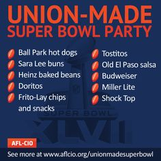 Ready to cheer on the Baltimore Ravens and the San Francisco 49ers on Super Bowl Sunday? Check out and SHARE this list of union-made-in-America food and drinks for your party.  Visit http://www.aflcio.org/unionmadesuperbowl for a longer list.