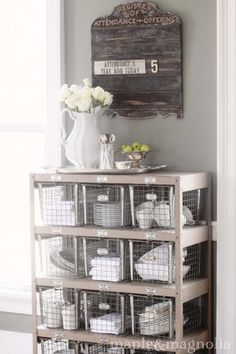 country decor, locker, french country, church signs, shelv, kitchen, wire baskets, storage ideas, old churches