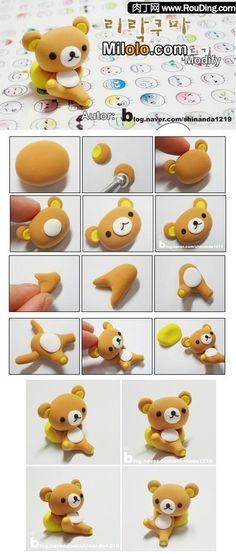 Rilakuma bear tuto cake, clays, fimo, clay craft, teddy bears, polym clay, clay tutorials, polymer clay, diy