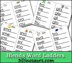 Free Blends Word Ladders - 3Dinosaurs.com