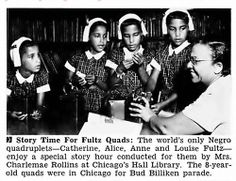 The Fultz Quads at a personal Story Hour in Chicago, where they were in the Bud Billiken Parade.