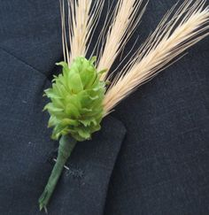 FOR THE GUYS - Boutonniere Hops for Weddings - 10 Premium Hops Cones w/Stems and Wires plus 20 Rye Stalks