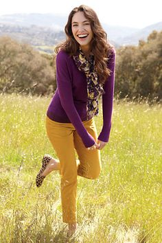 Love the mustard-purple combo! leopard shoes, colored pants, the color purple, color combos, colors, outfit, flats, cords, business casual