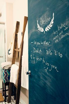 adorable idea for a cottage--chalkboard walls