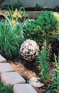bowling ball art, cement craft, bowl ball, garden art, yard art, craft idea, garden idea, backyard, diy mosaic garden balls