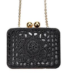 Dolce & Gabbana Black Bag with Brass Accents - looks great for a night out on the town crochet clutch, crochet bags, dolce gabbana bags, dolce and gabbana bag, knit bag, clutch crochet, handbags crochet, crochet purses, clutch bag crochet
