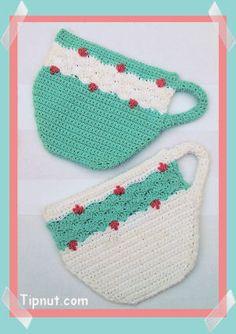 tea cup potholders - free crochet pattern