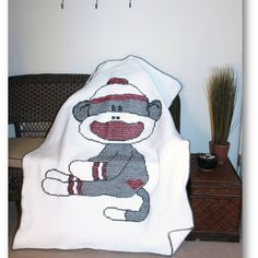 Baby blanket- sock monkey cross stitch made this one for Michael!