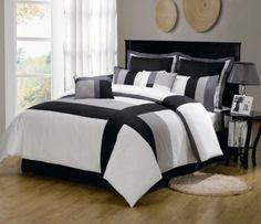 7 Piece Twin Serene Black and Gray Comforter Set
