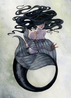 Black Mermaid  8x10 print by reneenault on Etsy, $10.00