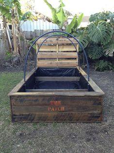 Pallet Raised Garden Bed #Garden, #GardenBed, #GardenBedsRaised, #HowToBuildARaisedGardenBed, #HowToMakeAPalletGardenBed, #Pallet, #PalletFurniture, #PalletGarden, #PalletIdeas, #PalletProjects, #PalletWood, #Pallets, #RaisedGardenBed, #RaisedVegetableGardenBed, #ReclaimedWood, #Vegetable