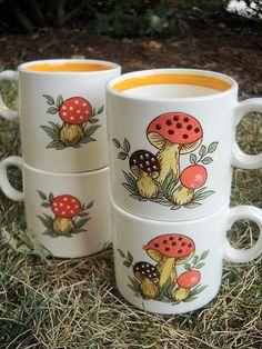 Sears Merry Mushrooms Coffee Tea Cups Mugs