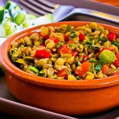 Kalyn's kitchen shares this colorful recipe for a Lentil Salad with Green Olives, Red Bell Pepper, Green Onion, and Greek Oregano
