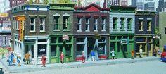 Merchant's Row I - Kit -- 11 x 5 x 4'' 27.9 x 12.7 x 10.2cm - HO-Scale (wrr3028) Walthers HO Scale Model Railroad Buildings