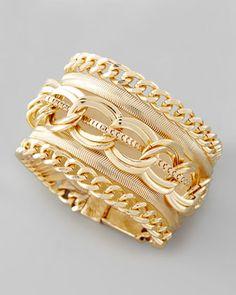 Multi-Chain Magnetic Bracelet by Cara Accessories magnet bracelet, bracelets, multichain bracelet, chains, accessories, multichain magnet, cara accessori, neiman marcus, jewelri