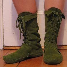 ELF BOOTS/ handmade moccasins Moss Green Mid calf 11 inch high order your size by Earth Garden, via Etsy.