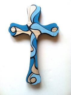Painted cross $15 on etsy Also plain wood crosses to decorate available at DIY Greek