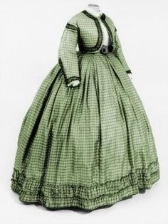 1863-1865 green plaid dress with bolero jacket.