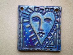 Raku Heart Face Bead Ceramic Statement Bead by spinningstarstudio, $6.00